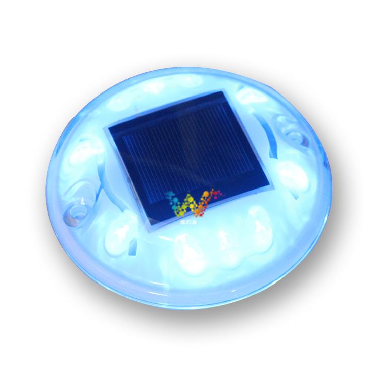蓝色码头太阳能警示灯